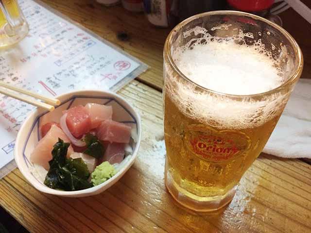 那覇の松尾の足立屋せんべろの生ビール