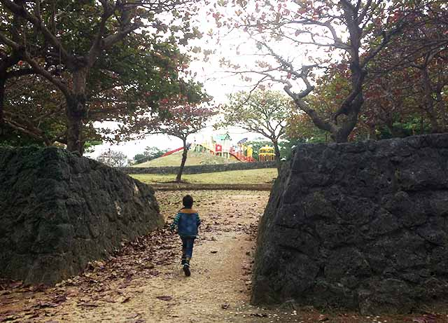 浦添大公園の新しい遊具の広場の石垣