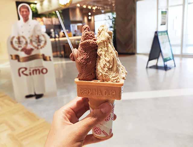 rimo沖縄のジェラートのショコラータとピスタチオ